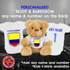 Colombia Football Babygrow & Teddy Bear Personalised Matching Gift set, Soccer