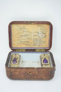 Antique Leather Padded German Sewing Trinket Jewelry Box 19th Century European