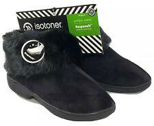 NEW Isotoner Woodlands ResponsiV Black Slippers Women LG 8.5 - 9 Fur Memory Foam