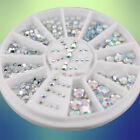 5 Size Acrylic Nail Art Decoration 3D White Multicolor Glitter Rhinestones+Wheel