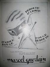 PUBLICITE DE PRESSE GUERLAIN PARFUM MASQUE ROUGE REDOUTE MASQUEE FRENCH AD 1929