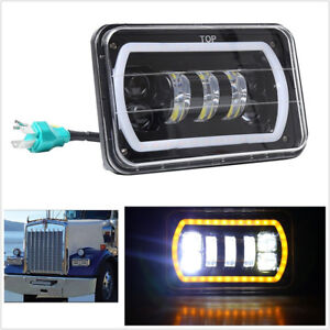 4InchX6Inch Square High/Low Beam LED Headlight White DRL for Jeep Truck Offroad
