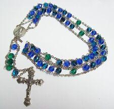 Vintage Ladder Style Blue & Teal Crystal Rosary