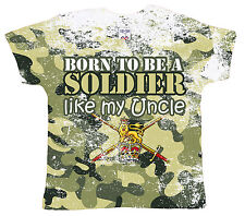 """DF Baby T-Shirt All Over Print """"Born to be a Soldier like my Uncle"""" Army Tank"""
