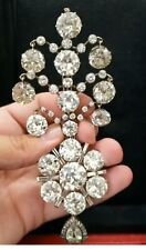 Real 925 Sterling Silver CZ Brooch White Round Vintage Style Handmade - Royale`