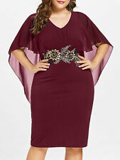 Plus Size Womens Embroidery Capelet Sheath Casual Cocktail Evening Party Dress