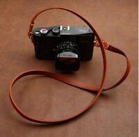 Handmade Genuine Leather Camera Shoulder Neck Strap for Leica Fuji Sony Brown