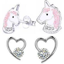 2x Ohrstecker 925 Echt Silber Mädchen Kinder Ohrringe Pferd Einhorn Pegasus Herz