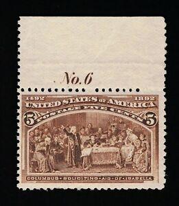 AFFORDABLE GENUINE SCOTT #234 F-VF MINT OG NH 1893 5¢ COLUMBIAN EXPO PLATE #6