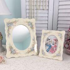 Vtg Porcelain Picture Mirror Frames Blue Floral Morning Glory Enesco Ceramic Set