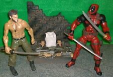 "Marvel Diamond Select Wolverine Logan + Deadpool 7"" Inch Action Figure Lot -USED"