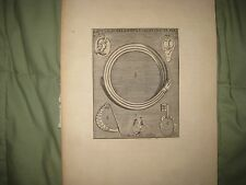 FINE ANTIQUE 1725 ROMAN EMPIRE JEWELRY RING COIN KEY ARTIFACT COPPERPLATE PRINT
