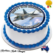 F-22 JET FIGHTER PLANE REAL EDIBLE ICING CAKE IMAGE PARTY TOPPER