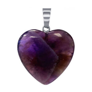 Natural Amethyst Gemstone Crystal Heart Pendant with Stainless Steel Bail