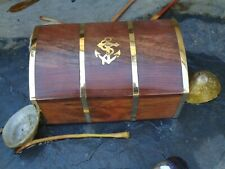 Treasure Chest With Brass Anchor Gift Box -Marine Sea Nautical Wooden Box 140 mm