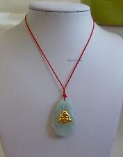 Authentic Certified grade A green Jade Jadeite 9999 yellow gold Buddha pendant