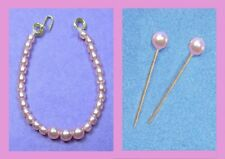 Dreamz PINK GRADUATED PEARL NECKLACE & ERs Doll Jewelry VINTAGE REPRO for Barbie
