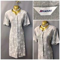 Damart Grey Floral Retro Buttoned Dress UK 14 EUR 42 US 10 with Linen