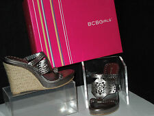 "NIB BCBGirls 6.5M ""Ponti-MK"" Pewter Metallic Kid Wedge Mule Sandals"