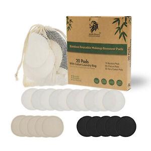 Reusable Bamboo Cotton Washable Make Up Remover Pads Waste Vegan Organic Black