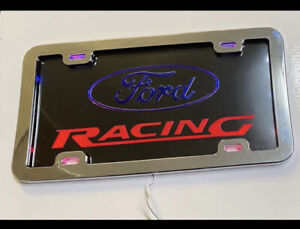 Ford Logo & Racing Word L.E.D License Plate With Heavy Duty Metal Chrome Frame