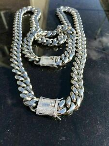 Miami Cuban Bracelet & Chain Set Stainless Steel 14mm Solid Silver Diamond Clasp
