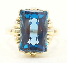 10K Solid Gold Ring Big Blue Spinel Unique Setting Can Be Sized Free Shipping