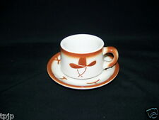 WESTERN JACKSON CHINA COFFEE CUP & SAUCER GUNS HAT BRANDING IRON