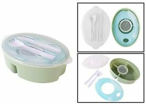 Lunch Box with Cooler Ring Includes 4 Compartments, Removable Round Pot and LID