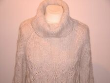 "CLASSIC IVORY CABLED LONG JUMPER WITH COWL NECK NWOT 40"" BUST"