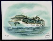 Original Art Work  MSC  DIVINA..MSC cruises. cruise ship.W/Ships Official Stamp