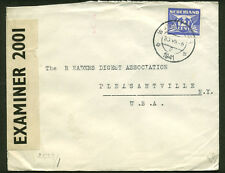 WWII GERMAN AND US CENSORED TAPES COVER FROM NETHERLANDS TO NEW YORK