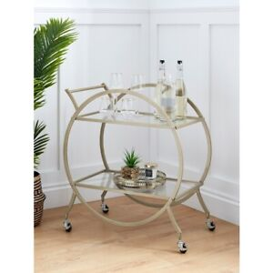 Gold Metal Trim Drinks Trolley