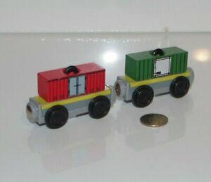 Kidkraft Wooden Railway Trains Peg & Stack Cargo Car Lot x2 works w/ Thomas BRIO