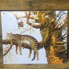 "Charles Wysocki Cat in Tree Tin Sign 6"" x 9"""