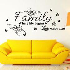 FAMILY Where Life Begins Love Never Ends Decal Mural Black Flower Wall Paper UK