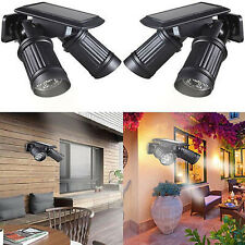 US Outdoor 14LED Solar Powered Dual Head Wall Light Spotlight Motion Sensor Lamp
