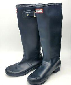 Hunter Original Boots Women 8M Navy Matte Tall Packable Rain Boots  Authentic