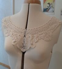 Ivory floral lace collar applique round neckline cotton embroidered lace motif