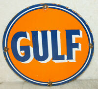 GULF Gasoline Oil Vintage Style Porcelain Signs Gas Pump Man Cave Station