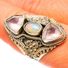 Large Ethiopian Opal, Rose Quartz Sterling Silver Ring Size 9.25 Jewelry R77781F