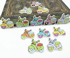 25X Mixed color Cartoon Tram Wooden Buttons Sewing Scrapbooking Travel tool 27mm