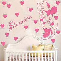 MINNIE MOUSE with personalised name wall sticker decal for kids bedroom Girls K9