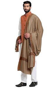 "Men's Woven Border Woollen Indian Lohi Shawl Scarf Scarves 50"" X 100"""