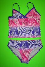 NWT OLD NAVY TANKINI ZEBRA SWIMSUIT PINK PURPLE MEDIUM 8 BATHING SUIT