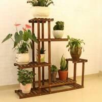 Multi Tier Flower Plant Holder Stand Rack Wood Shelves Bonsai Display Shelf