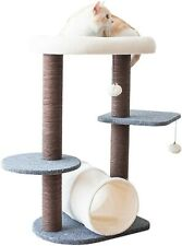 Potable Gray Tree Cat Tower for Activity with Tunnel & Toy Ball