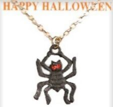 """Crystal Stones, Made in Usa New Halloween 18"""" Spider Vintage Necklace With 2"""