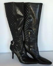Guess Quilted Black Knee Height Zipper Buckle Boots Women's Size 7 M