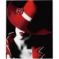 Paint By Number Kit DIY Oil Painting Cloth Digital Home Decor, Red Hat woma L4Y2